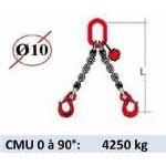 Elingue chaine 2 brins - crochets à linguet - CMU 4250 kg (classe 80)