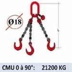 Elingue chaine 3 brins - crochets fonderie - CMU 21200 kg (classe 80)