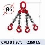 Elingue chaine 4 brins - crochets à linguet - CMU 2360 kg (classe 80)