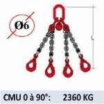 Elingue chaine 4 brins - crochets automatiques - CMU 2360 kg (classe 80)