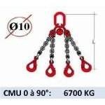 Elingue chaine 4 brins - crochets automatiques - CMU 6700 kg (classe 80)