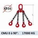 Elingue chaine 4 brins - crochets automatiques - CMU 17000 kg (classe 80)