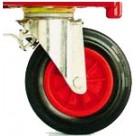 4 roues pivotantes caoutchouc Ø 200 mm dont 2 à frein