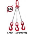 Elingue câble 3 brins  crochets à émerillon  10500 kg