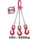 Elingue câble 3 brins  crochets à émerillon  8400 kg