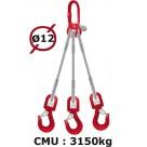 Elingue câble 3 brins  crochets à émerillon  3150 kg