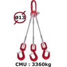 Elingue câble 3 brins  crochets à émerillon  3360 kg