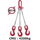 Elingue câble 3 brins  crochets à émerillon  4200 kg