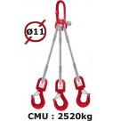 Elingue câble 3 brins  crochets à émerillon  2520 kg