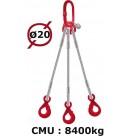 Elingue câble 3 brins  crochets automatiques  8400 kg