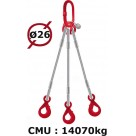 Elingue câble 3 brins  crochets automatiques  14070 kg