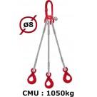 Elingue câble 3 brins  crochets automatiques  1050 kg