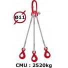 Elingue câble 3 brins  crochets automatiques  2520 kg