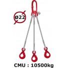 Elingue câble 3 brins  crochets automatiques à émerillon  10500 kg