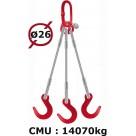 Elingue câble 3 brins  crochets de fonderie  14070 kg