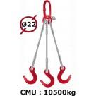 Elingue câble 3 brins  crochets de fonderie  10500 kg