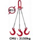 Elingue câble 3 brins  crochets de fonderie  3150 kg