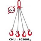 Elingue câble 4 brins  crochets à linguet  10500 kg