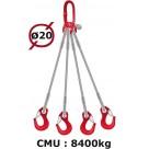 Elingue câble 4 brins  crochets à linguet  8400 kg