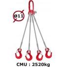 Elingue câble 4 brins  crochets à linguet  2520 kg