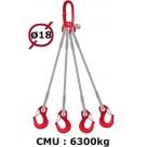 Elingue câble 4 brins  crochets à linguet  6300 kg