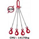 Elingue câble 4 brins  crochets automatiques  16170 kg