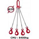 Elingue câble 4 brins  crochets automatiques  8400 kg