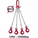 Elingue câble 4 brins  crochets automatiques  10500 kg