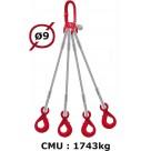 Elingue câble 4 brins  crochets automatiques  1743 kg