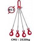 Elingue câble 4 brins  crochets automatiques  2520 kg