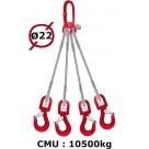Elingue câble 4 brins  crochets à émerillon  10500 kg