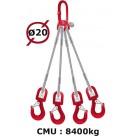 Elingue câble 4 brins  crochets à émerillon  8400 kg