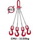 Elingue câble 4 brins  crochets à émerillon  3150 kg