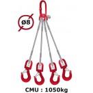 Elingue câble 4 brins  crochets à émerillon  1050 kg