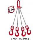 Elingue câble 4 brins  crochets à émerillon  5250 kg
