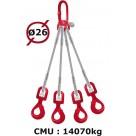 Elingue câble 4 brins  crochets automatiques à émerillon  14070 kg