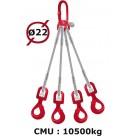 Elingue câble 4 brins  crochets automatiques à émerillon  10500 kg