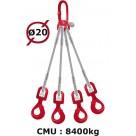 Elingue câble 4 brins  crochets automatiques à émerillon  8400 kg