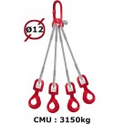 Elingue câble 4 brins  crochets automatiques à émerillon  3150 kg