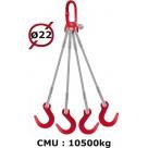 Elingue câble 4 brins  crochets de fonderie  10500 kg
