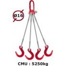 Elingue câble 4 brins  crochets de fonderie  5250 kg