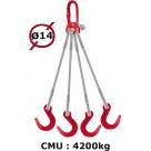 Elingue câble 4 brins  crochets de fonderie  4200 kg