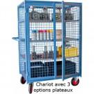 Servante grillagée bleu petites mailles verrouillable - 500 kg