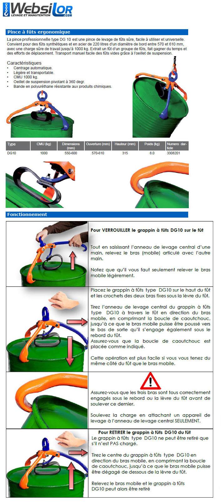 Informations techniques Pince à fûts ultra maniable - 220 L