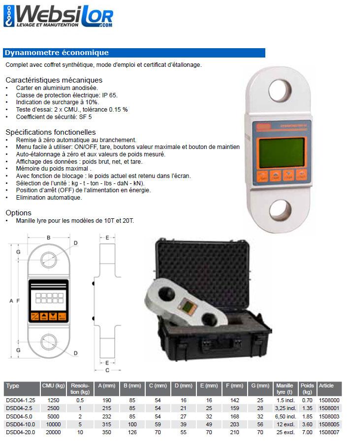 Informations techniques Dynamomètre sans télécommande