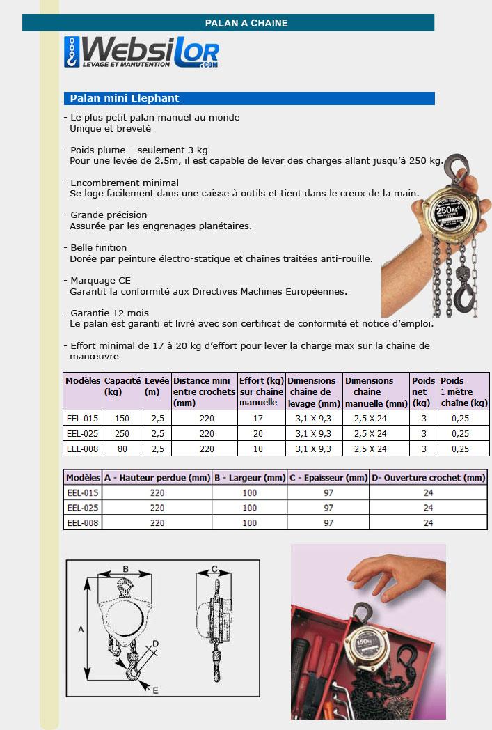 Informations techniques Palan manuel à chaîne léger et compact