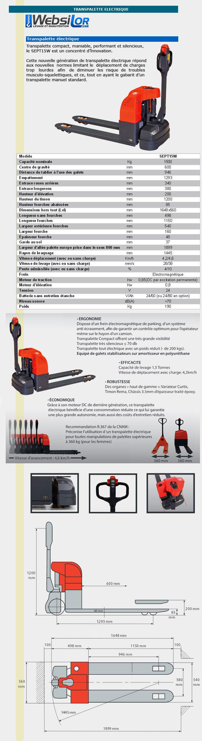 Informations techniques Transpalette électrique - 1500kg