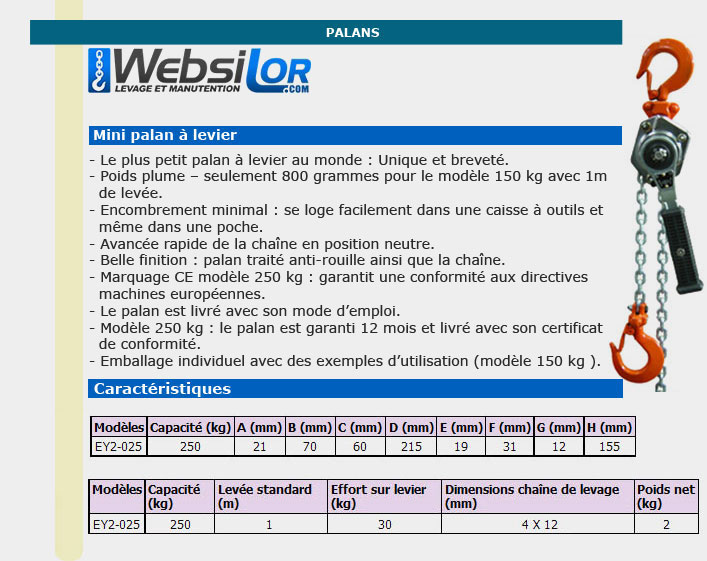 Informations techniques Petit palan à levier - 150 à 250kg