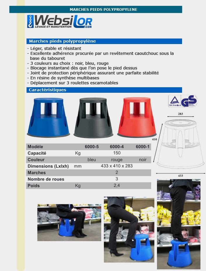 Informations techniques Marche pied polypropylène noir - Capacité 150kg