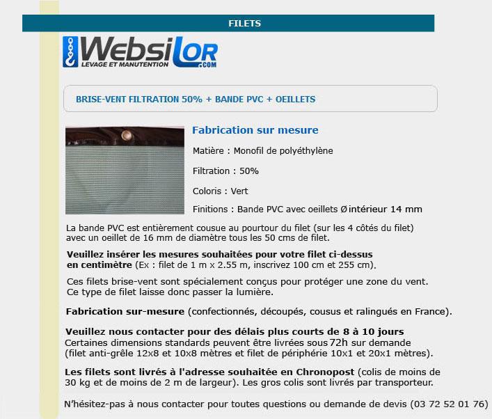 Informations techniques Filet brise-vent 50% filtration avec bande pvc